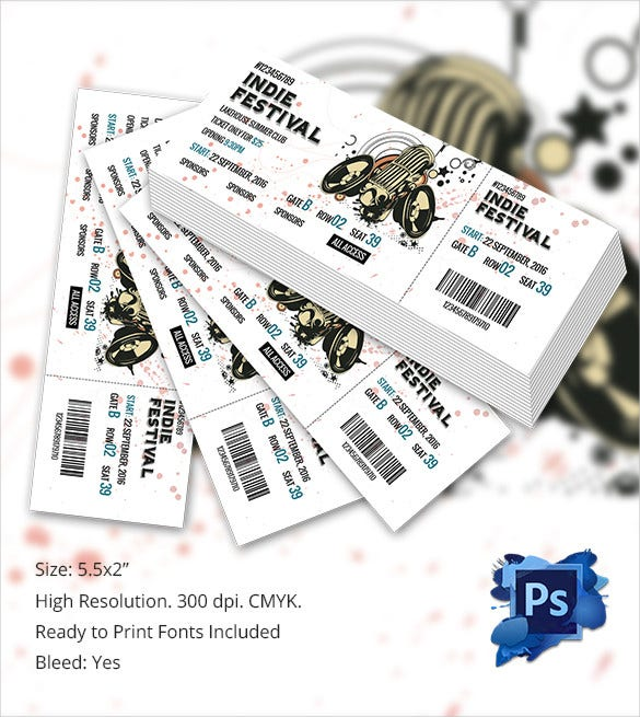 Customisable Concert Tickets PSD Template