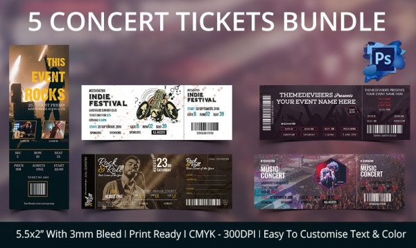 Doc500203 Concert Ticket Invitations Template Concert Ticket – Concert Ticket Birthday Invitations