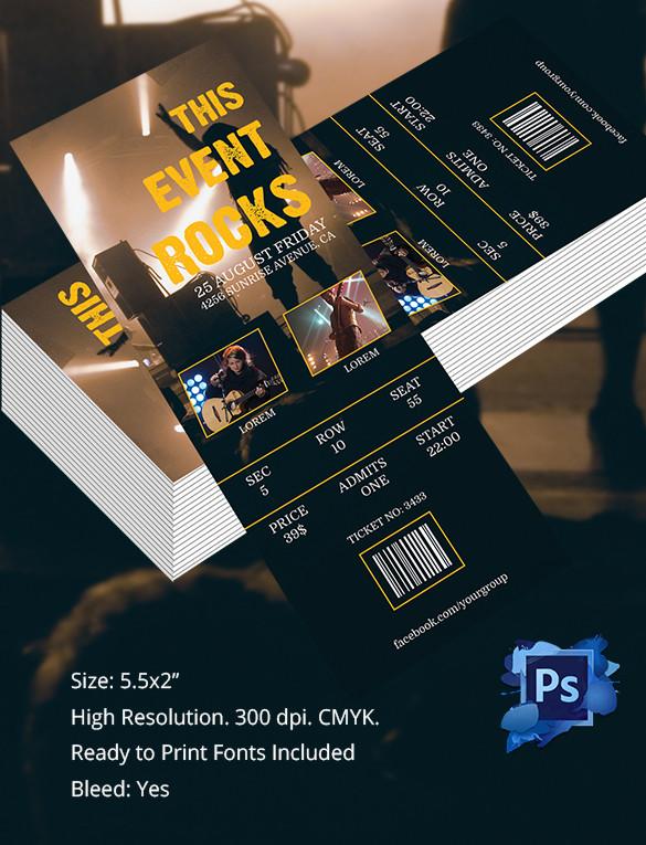 Editable Concert Tickets PSD Template