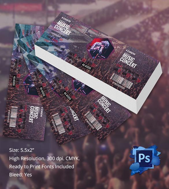 PSD Concert Tickets Template