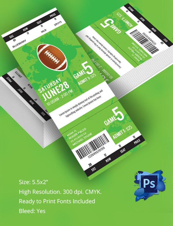 Customisable Rugby Tournament Ticket