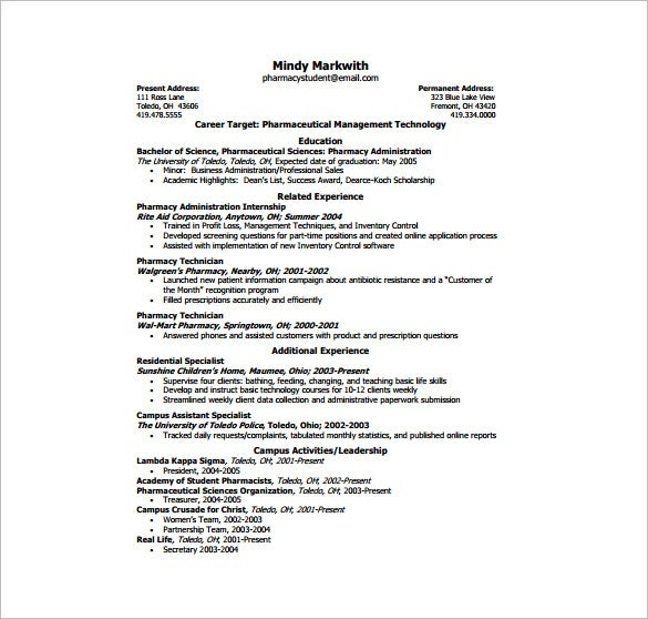 pharnacy one page resume pdf free download
