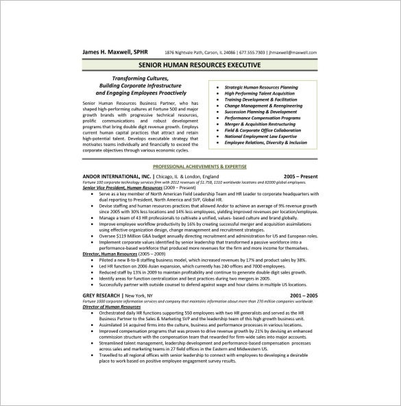 hr executive one page resume pdf free download