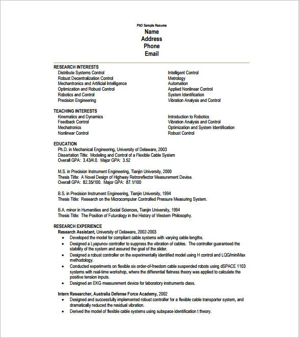 Examples Of One Page Resumes One Page Resume For Phd Student Pdf