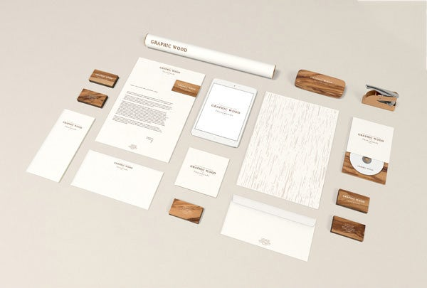 wood edition stationery branding template