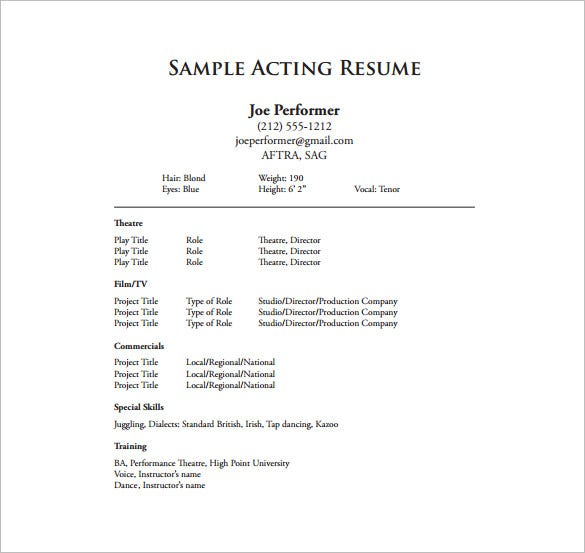 actors one page resume pdf free download