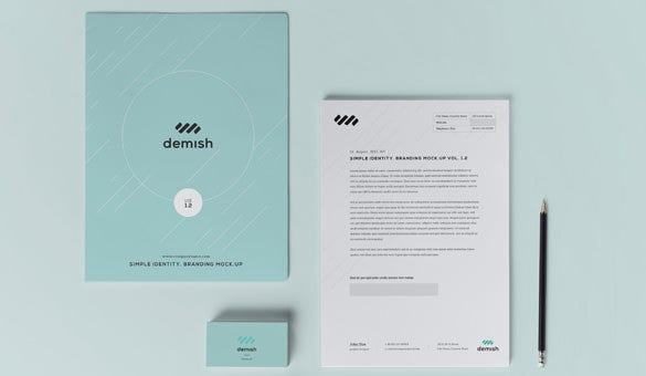 demish stationery branding template for free