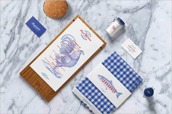 burger bar mockup branding template