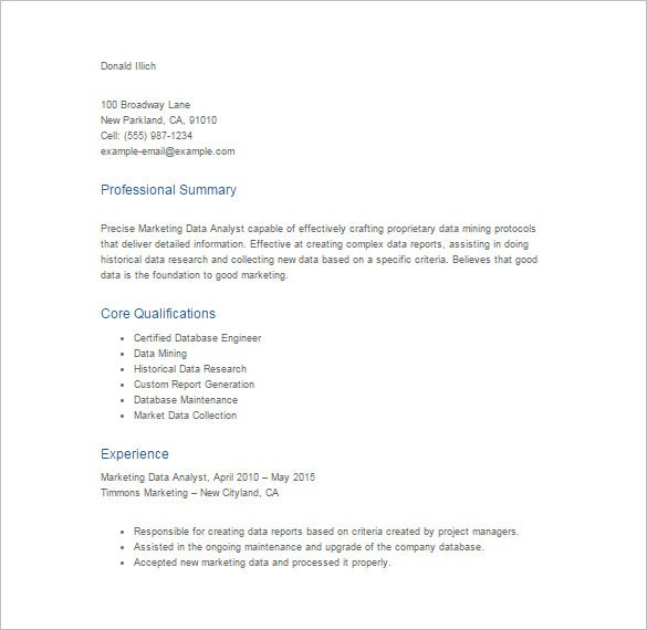 resume template for market data analyst pdf