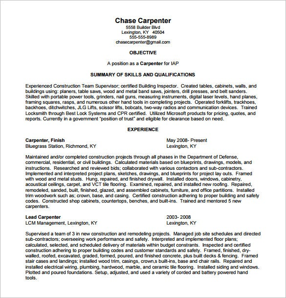 Awesome Carpenter Resume Template U2013 8+ Free Word, Excel, PDF Format .