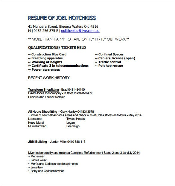 construction formwork resume pdf free download
