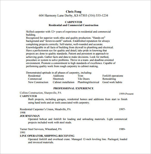 carpenter resume template 8 free word excel pdf format