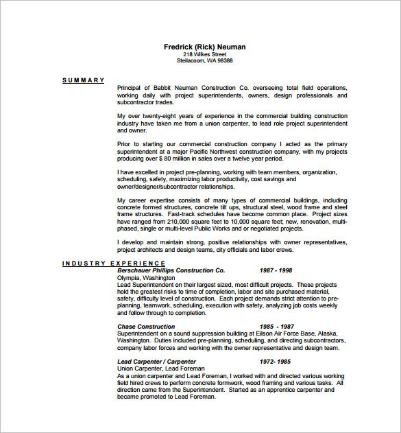 If You Are Looking To Create An Elaborate Resume As A Lead Carpenter Who Is  Backed By Huge Professional Experience, This Resume Could Be Perfect For  You  ...  Carpenter Resume