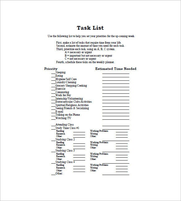 sample task list template