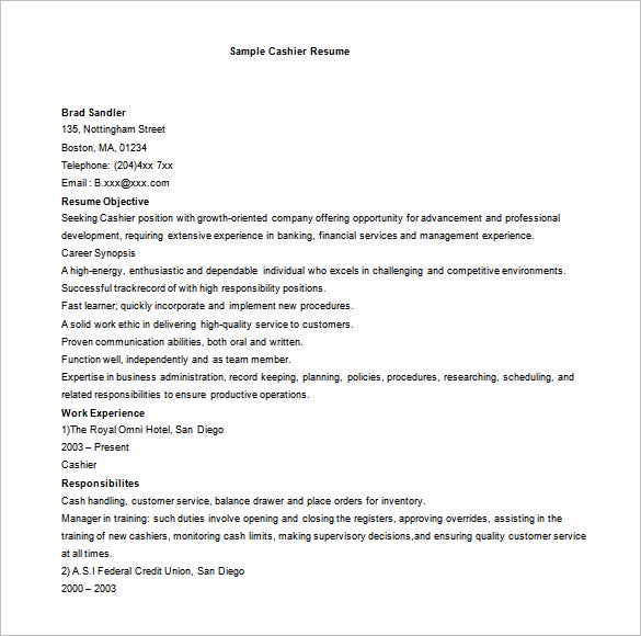 basic cashier resume word free download