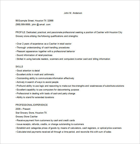 grocery store cashier resume in ms word free download - Example Resume For Cashier
