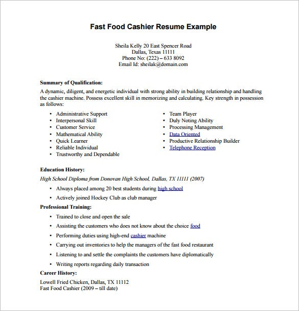 fast food cashier resume - Resume For Fast Food