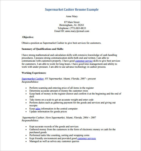 supermarket cashier resume pdf download