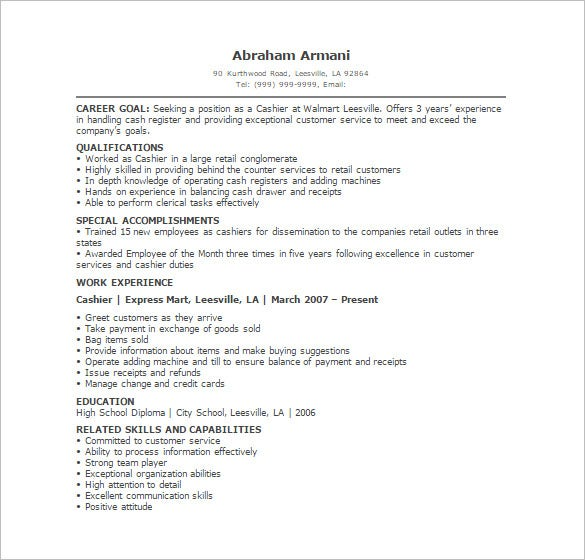 walmart cashier resume pdf template download