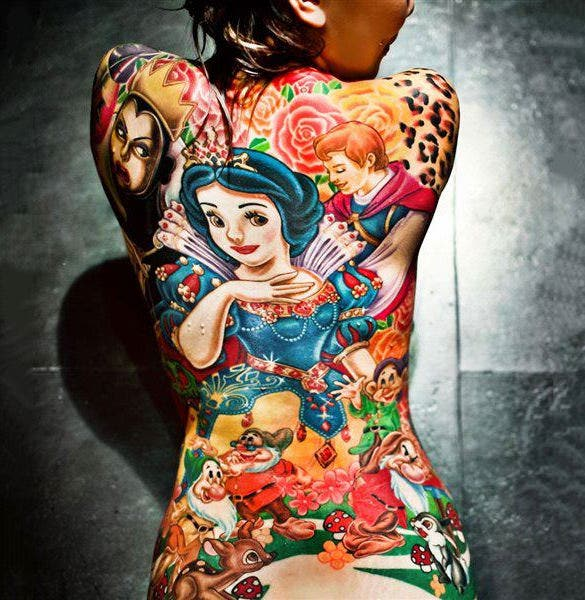wonderful 3d cartoon tattoo