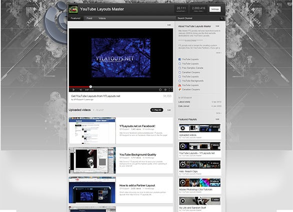clean techy youtube layout background