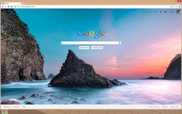 Change The Bland Google Chrome Background To Wallpaper Having Beautiful Clear Water In Backdrop Of A Magnificent Crimson Red Sky