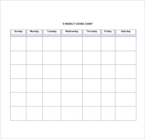 Chore List Template   Free Sample Example Format Download