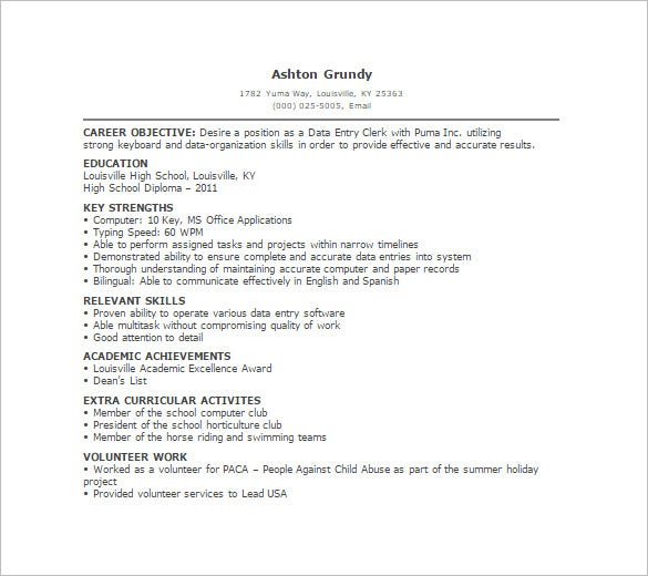 Data Entry Resume Template 11 Free Word Excel PDF Format