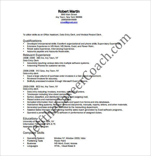 Data Entry Resume Template   Free Word Excel Pdf Format