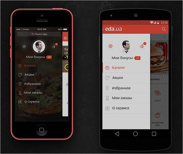 food delivery app designs