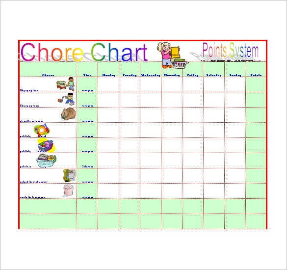 chore list template excel