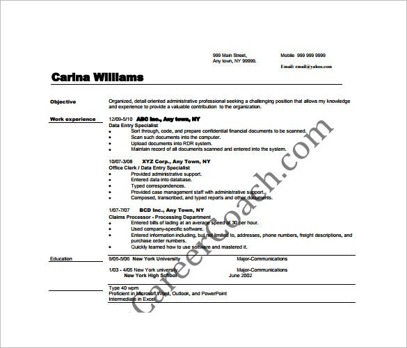 data entry resume template 9 free word excel pdf format