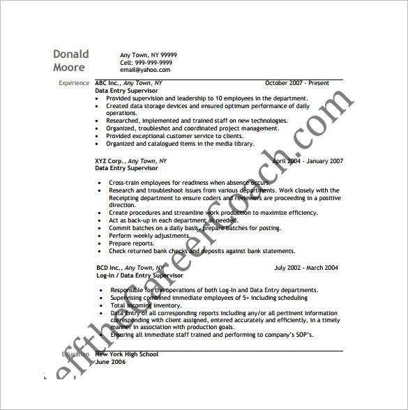 supervisor data entry resume free pdf download