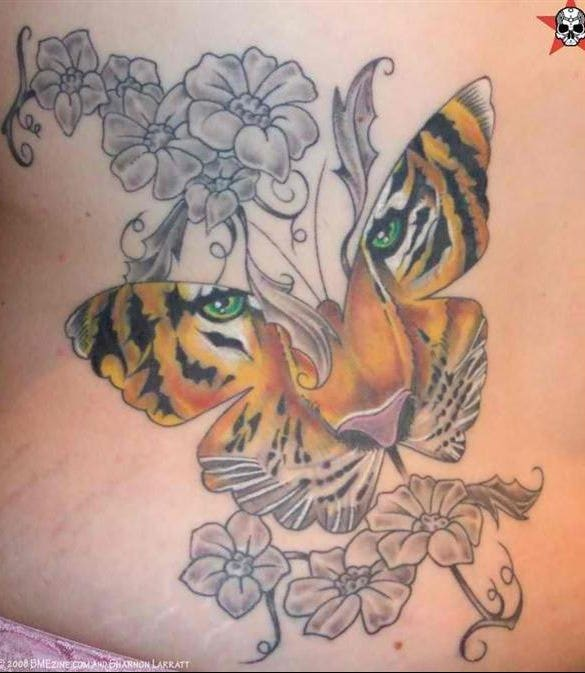 tiger in butterfly tattoo