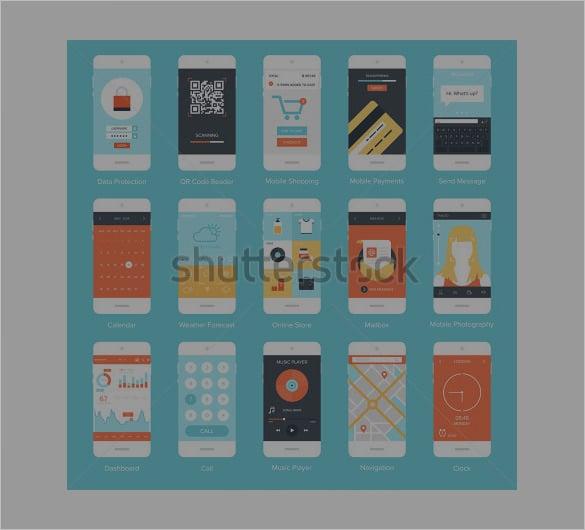 flat vector mobile app designs