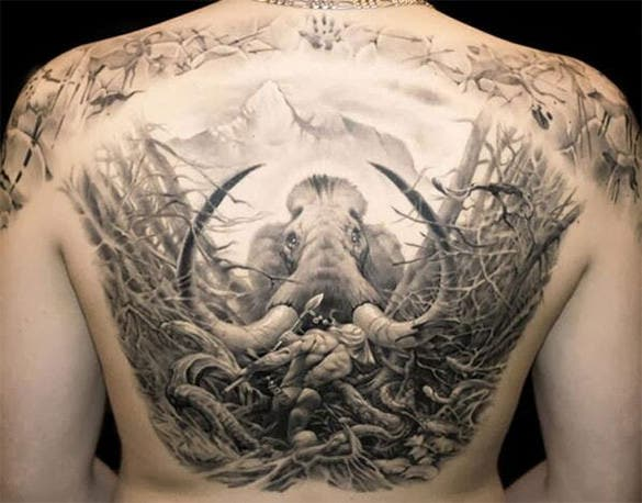 amazing furious elephant cover art tattoo