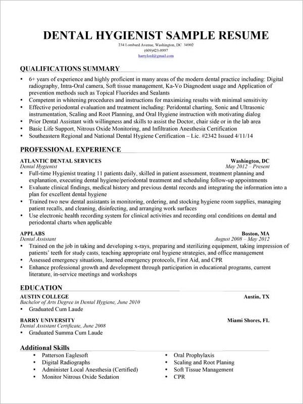 dental hygienist assistant resume template - Dental Assistant Resume Templates