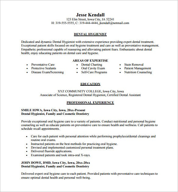 Free Download  Resume For Dental Hygienist