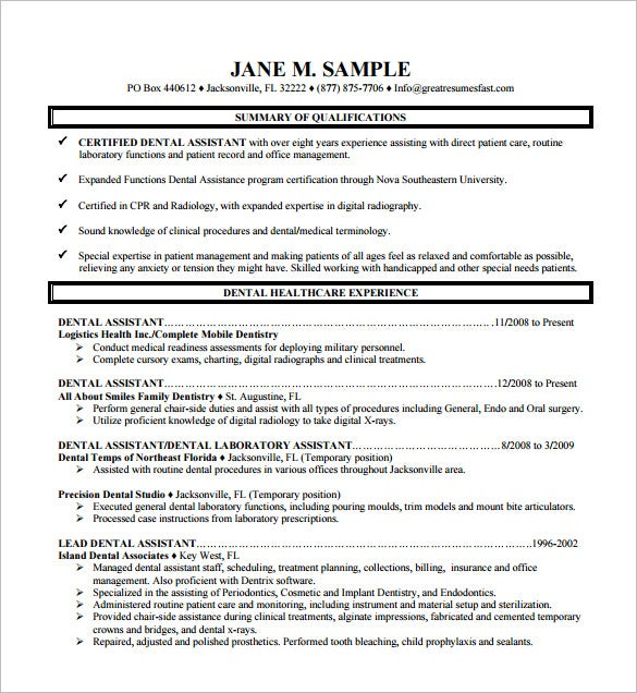 example of dental assistant resume   Template DENTAL ASSISTANT RESUME