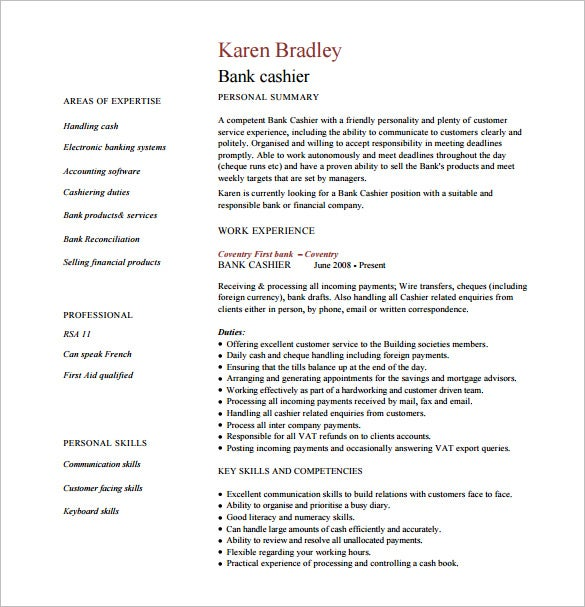 bank cashier resume pdf free download