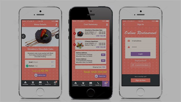 restaurant mobile app designs