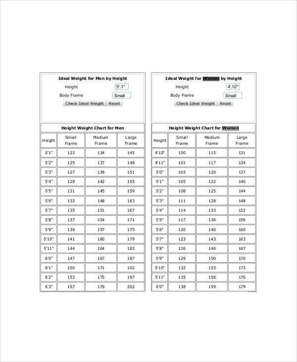 Height  Weight Charts For Women   Free Pdf Documents Download