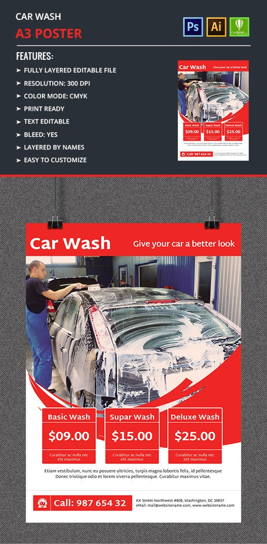 Car Wash A3 Poster Design