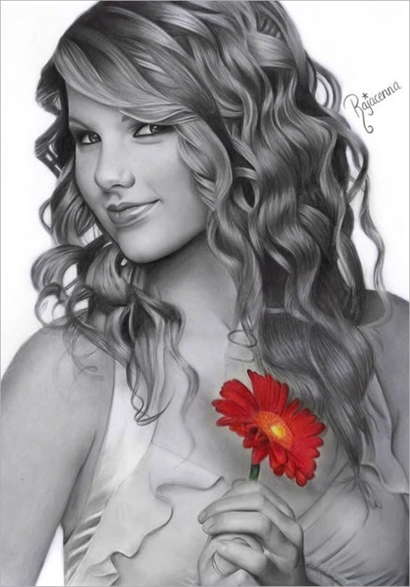 taylor swift realistic pencil drawing