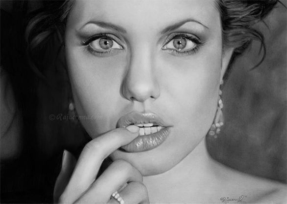 angelina jolie pencil drawing for free