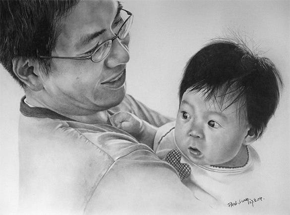 father with his daughter pencil drawing