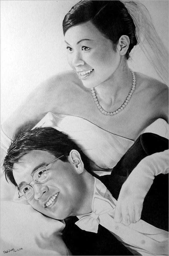 beautiful wedding couple pencil drawing