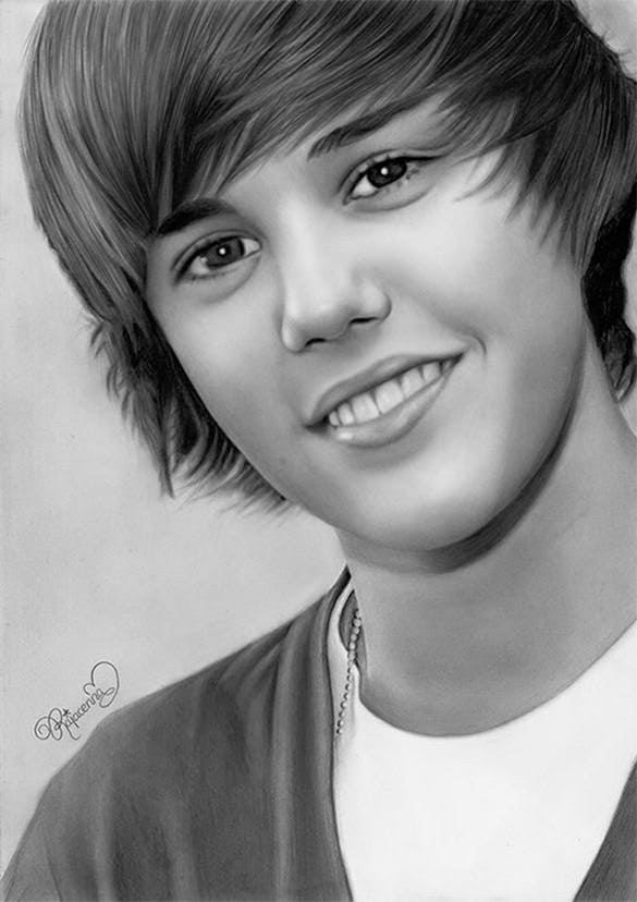 justin bieber pencil drawing for you