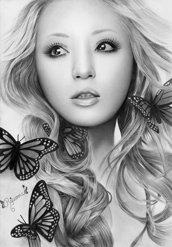 outsatnding woman with butterflies pencil drawing