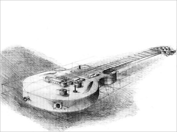 outstanding guitar pencil drawing